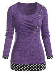 Plus Size Polka Dot Space Dye Long Sleeve Ruched Tee -