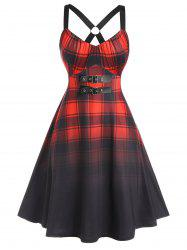 Plus Size Plaid Eyelet Buckle Cross A Line Dress -