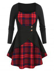 Plus Size Plaid Overlap High Rise Skirted Tunic Tee -