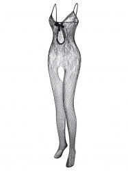 Plus Size Lace Panel Fishnet Sheer Bowknot Bodystocking -