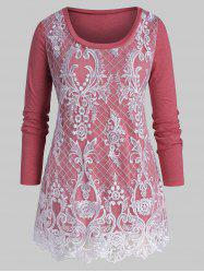 Plus Size Floral Lace Embroidery Layered T Shirt -