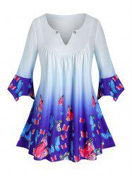 Plus Size Butterfly Ombre V Notch Tunic Hanky Cuff Tee -