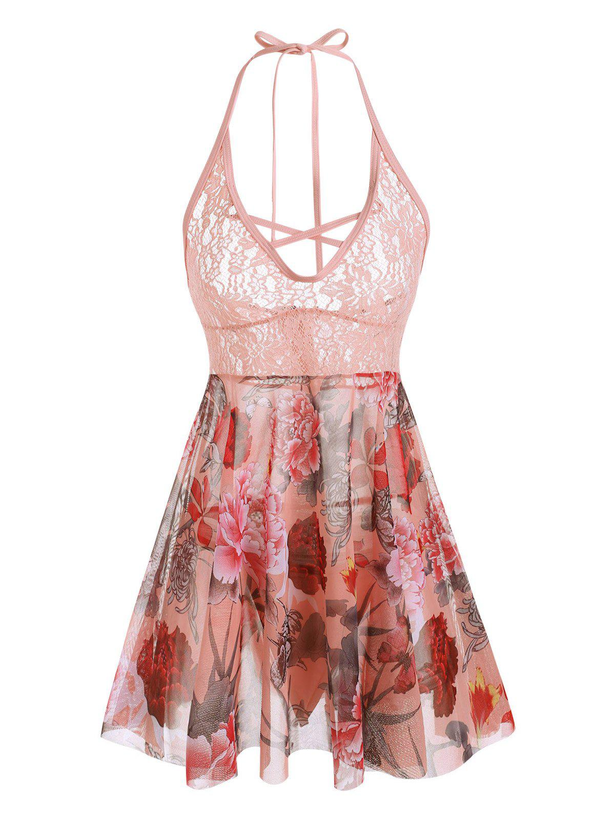 Sale Plus Size Halter Lace Insert Backless Floral Babydoll Set