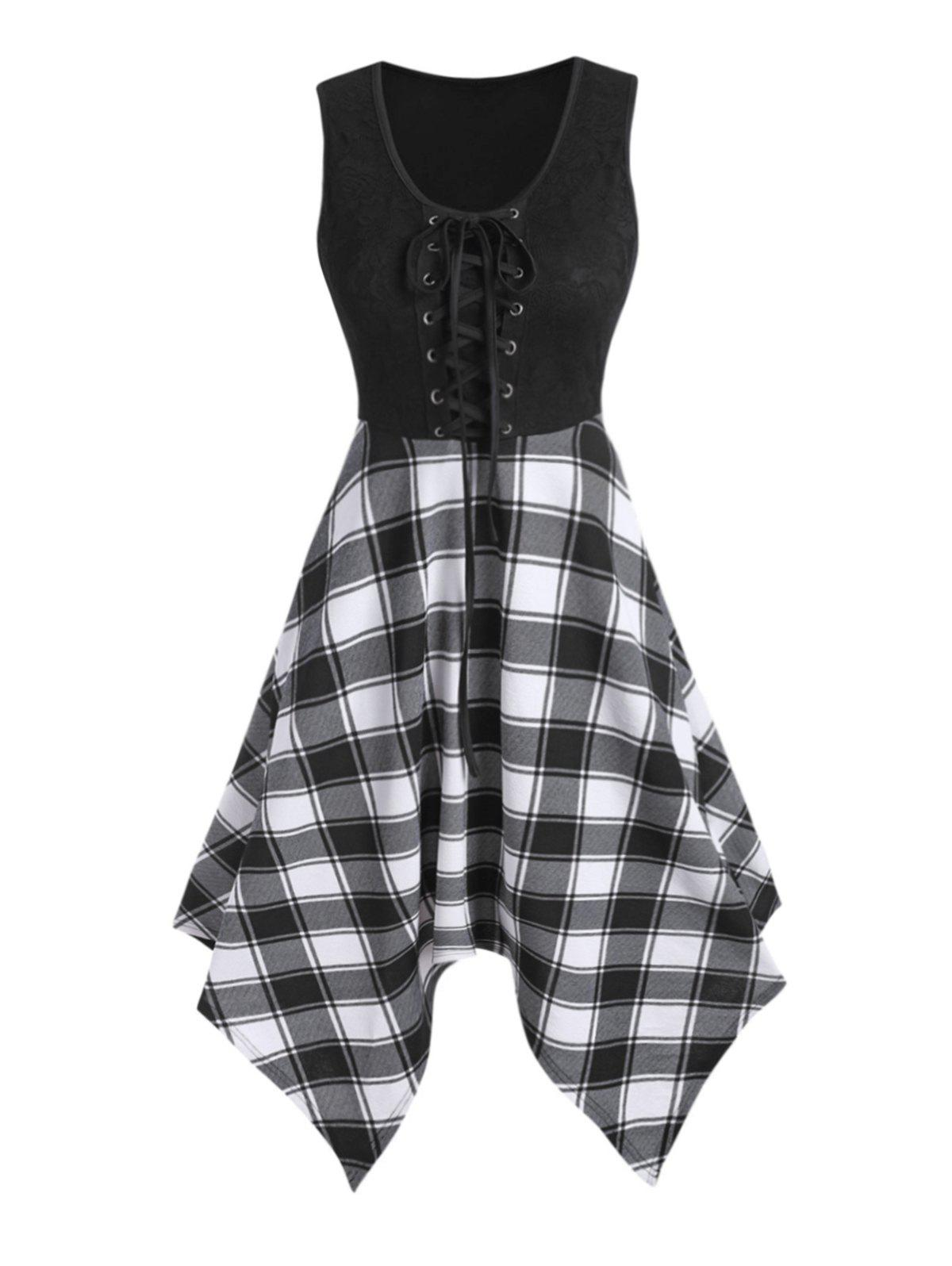 Shop Lace Up Plaid Print Sleeveless Asymmetrical Dress