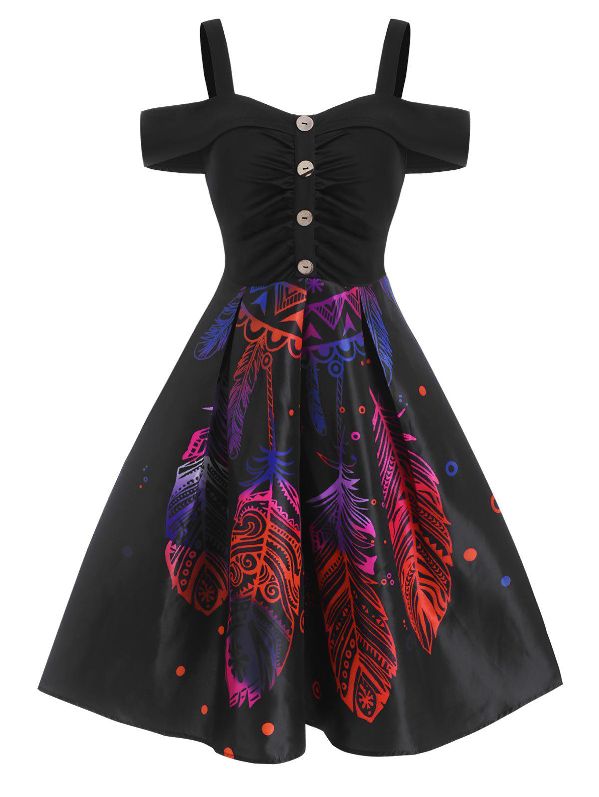 Outfits Feather Printed Button Cold Shoulder Dress