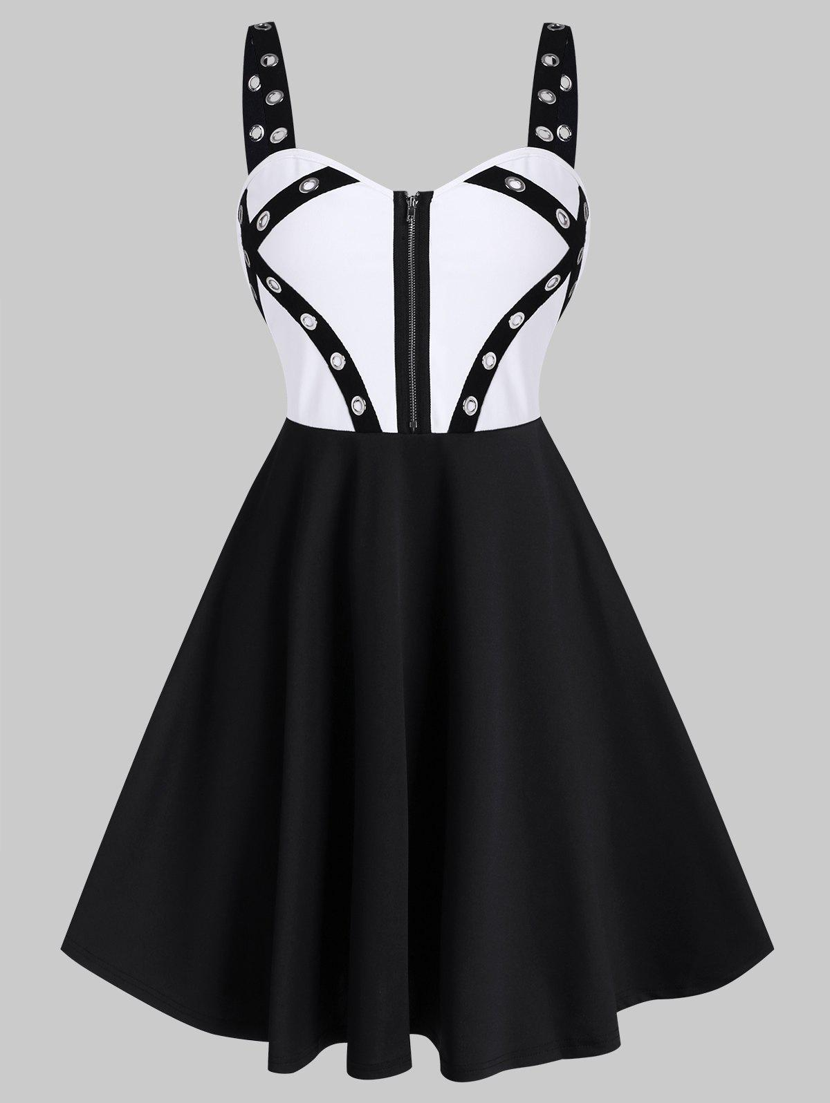 Unique Punk Colorblock Grommet Zipper A Line Dress