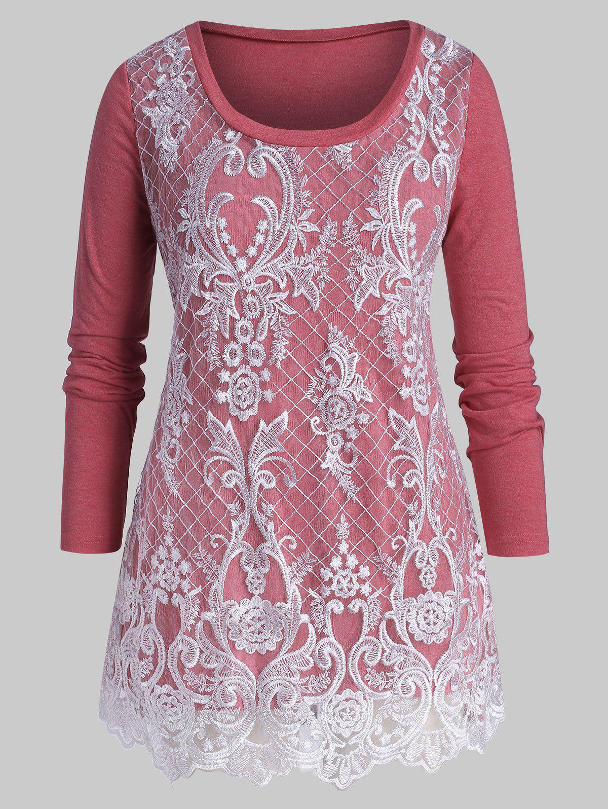 New Plus Size Floral Lace Embroidery Layered T Shirt
