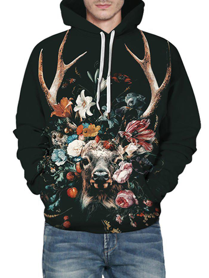 New Floral Cattle Graphic Front Pocket Drawstring Hoodie