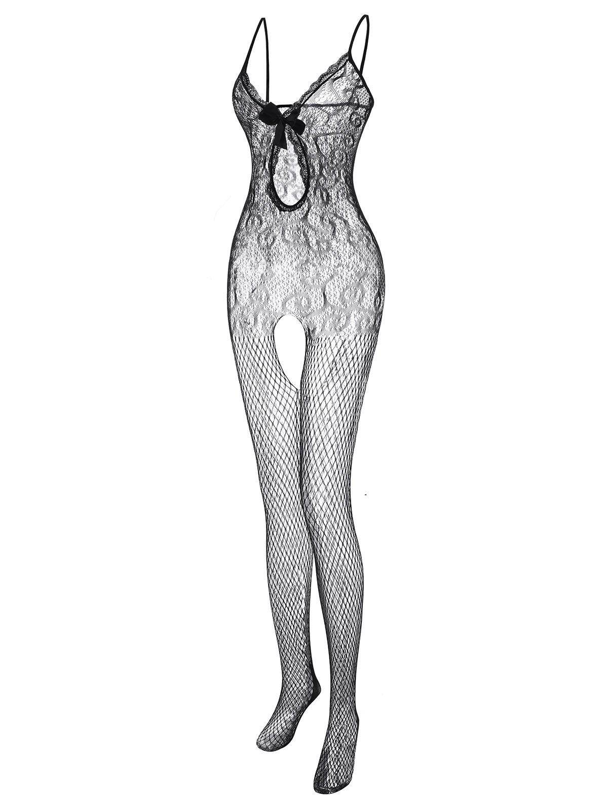 Best Plus Size Lace Panel Fishnet Sheer Bowknot Bodystocking