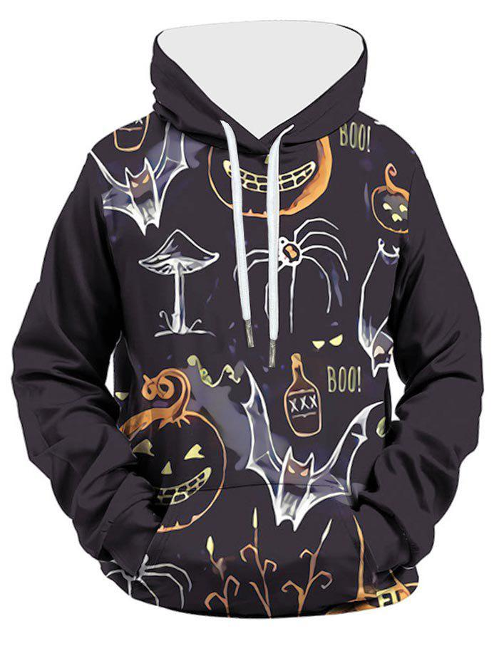 Sweat à Capuche d'Halloween Citrouille Imprimée avec Poche Orange S