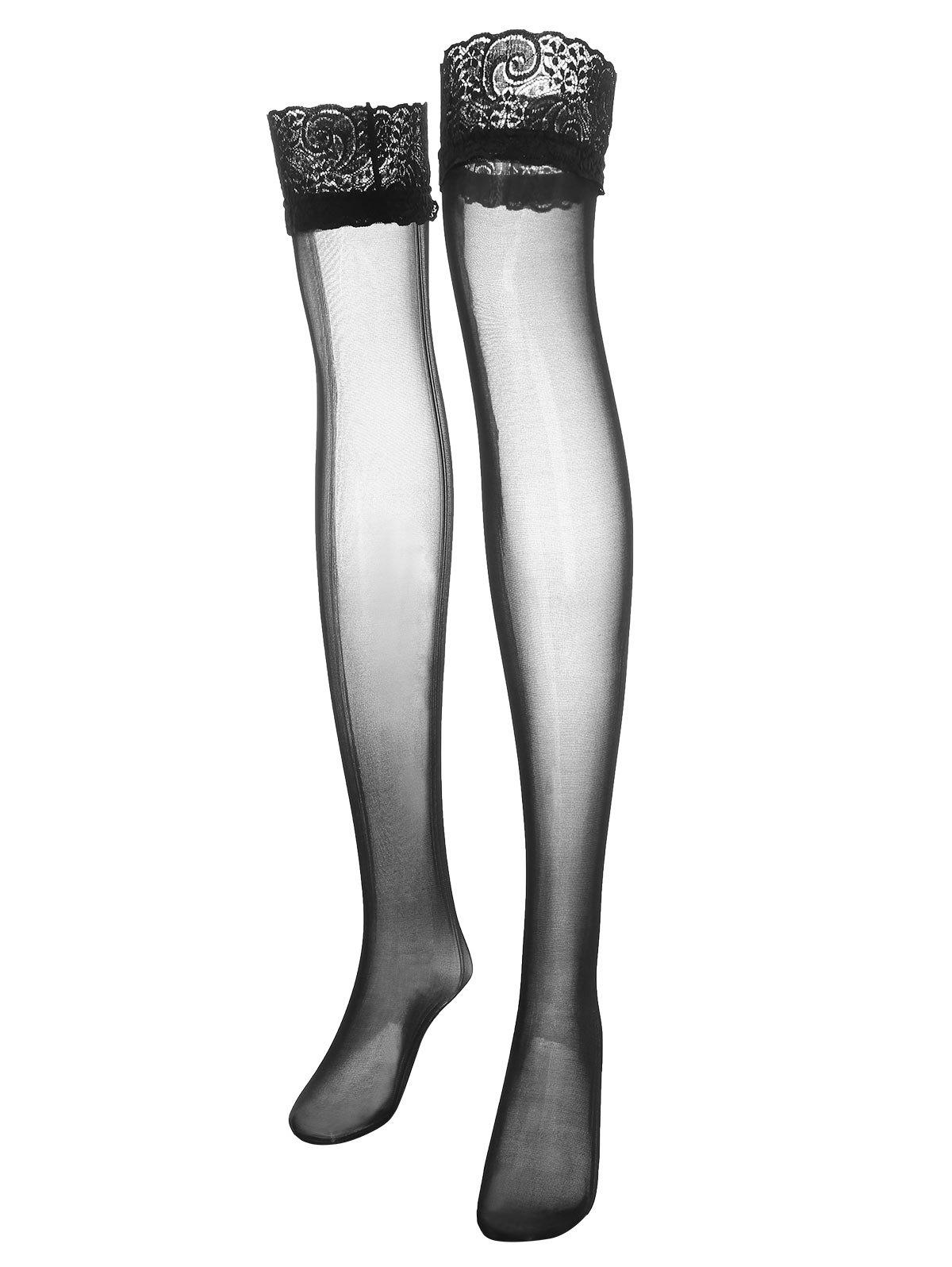 Affordable Plus Size Lace Panel Sheer Thigh High Stockings