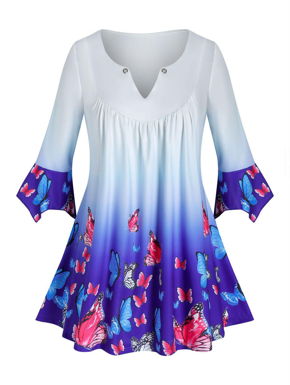 New Plus Size Butterfly Ombre V Notch Tunic Hanky Cuff Tee