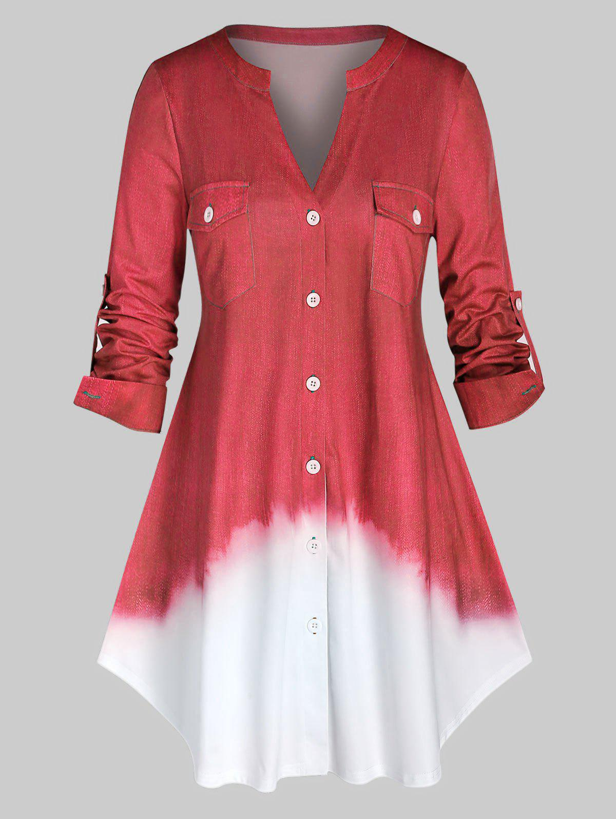 Outfit Plus Size Ombre Color Roll Up Sleeve Shirt