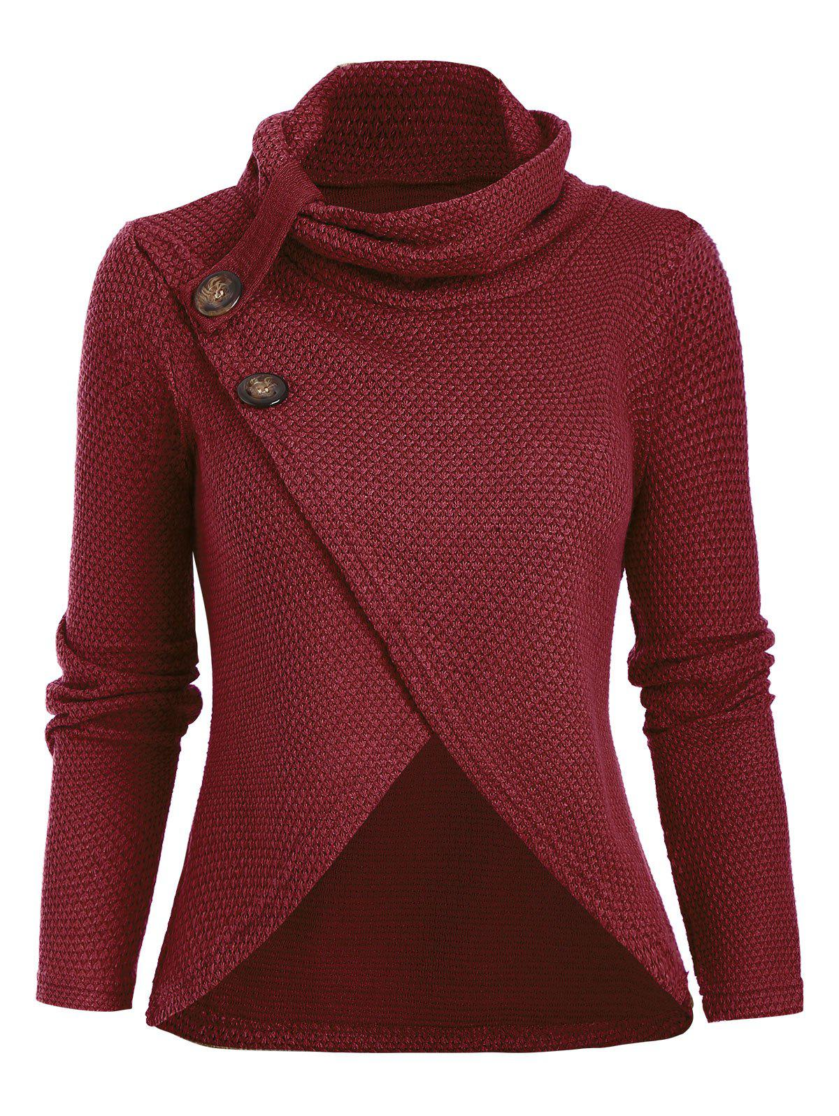 Outfit Cowl Neck Tulip Front Buttoned Knitwear