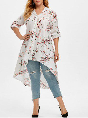 Plus Size Roll Up Sleeve Peach Blossom Print High Low Top - WHITE - 3X