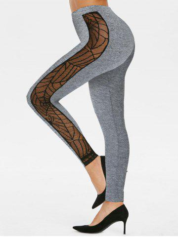 Sheer Spider Web Lace Gothic Skinny Leggings - GRAY - L