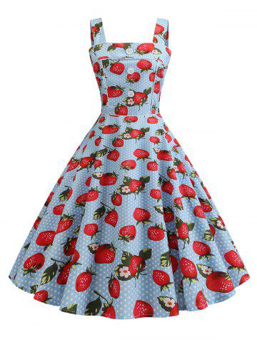 Plus Size Vintage Strawberry Cherry Print Pin Up Dress