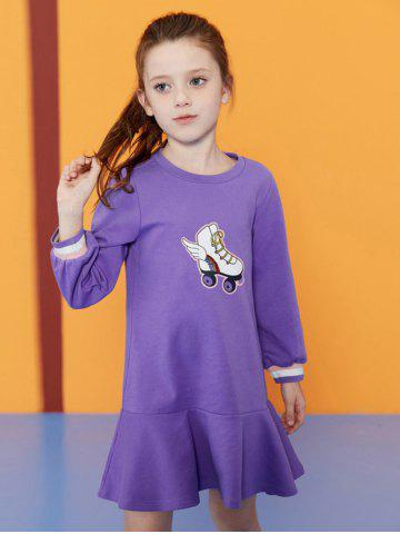 Robe de Fille à Manches Longues Motif de Skates à Volants - PURPLE - 110