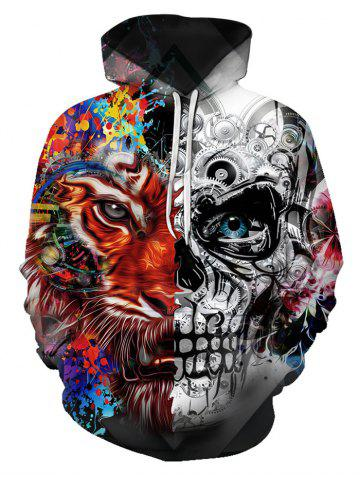 Two Face Tiger Pattern Front Pocket Pullover Hoodie