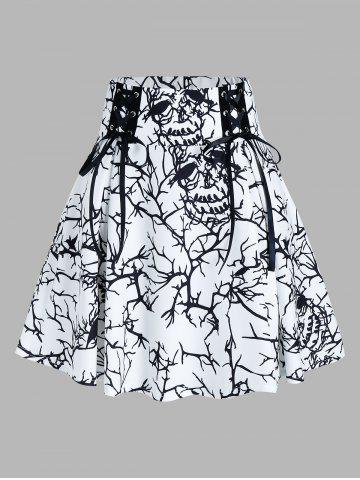 Tree Print Lace Up A Line Skirt - WHITE - M