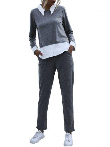 Bicolor Two Tone Long Sleeve Sweat Suit