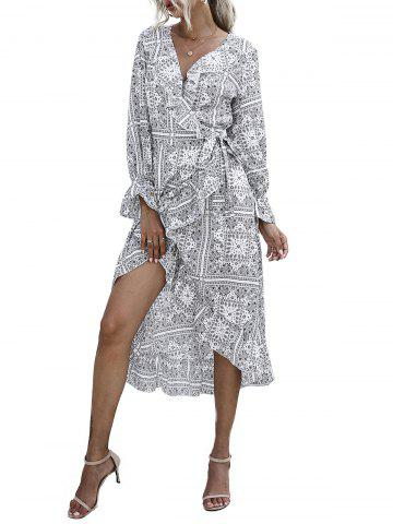 Paisley Ruffle Poet Sleeve Wrap Dress