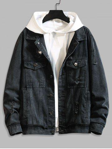 Ripped Broken Hole Flap Pockets Casual Denim Jacket