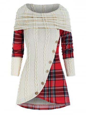 Contrast Plaid Panel Cowl Neck Cable Knit Knitwear - WARM WHITE - 2XL