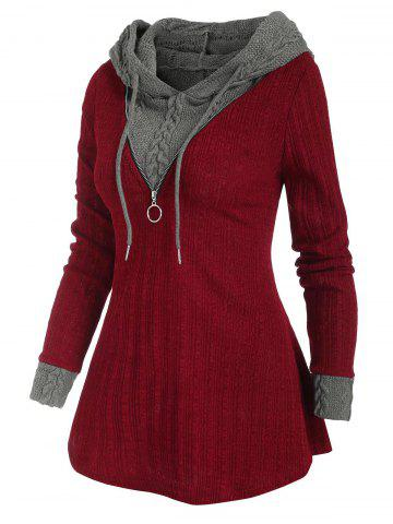 Colorblock Zip Embellished Hooded Sweater - RED - S