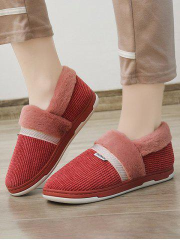 Winter Plush Ribbed Slip On Flat Shoes - RED WINE - EU 38