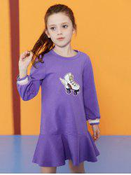 Skates Pattern Long Sleeve Girl Flounce Dress -