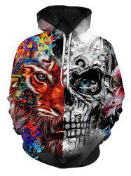 Two Face Tiger Pattern Front Pocket Pullover Hoodie -
