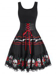 Halloween Skull Flower Corset Lace Panel Dress -