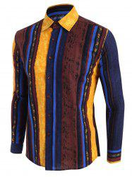 Vertical Striped Ethnic Button Up Shirt -