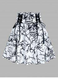 Tree Print Lace Up A Line Skirt -