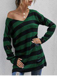 Striped Distressed Drop Shoulder Long Sweater -