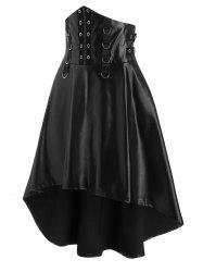 Grommet and D-ring Detail High Waist High Low Vinyl Skirt -