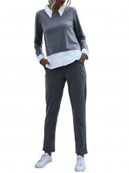 Bicolor Two Tone Long Sleeve Sweat Suit -