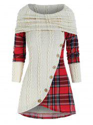 Contrast Plaid Panel Cowl Neck Cable Knit Knitwear -