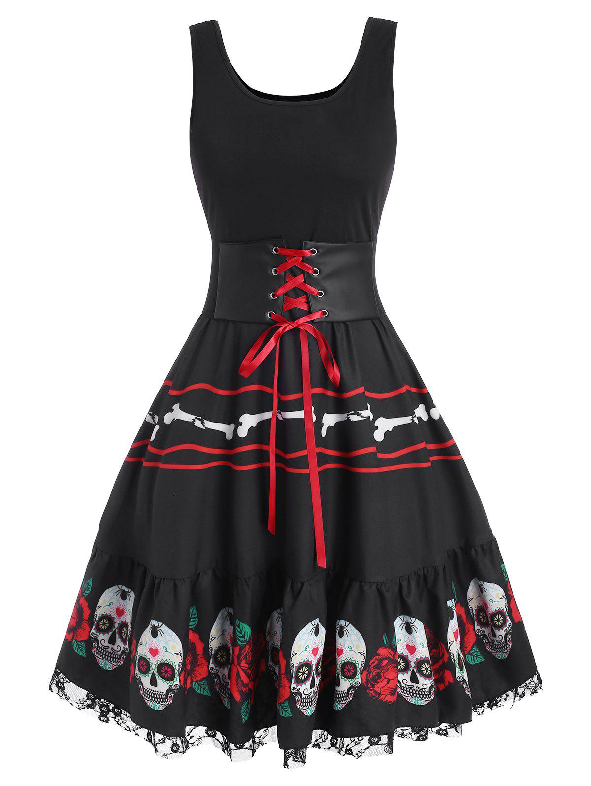 Shop Halloween Skull Flower Corset Lace Panel Dress