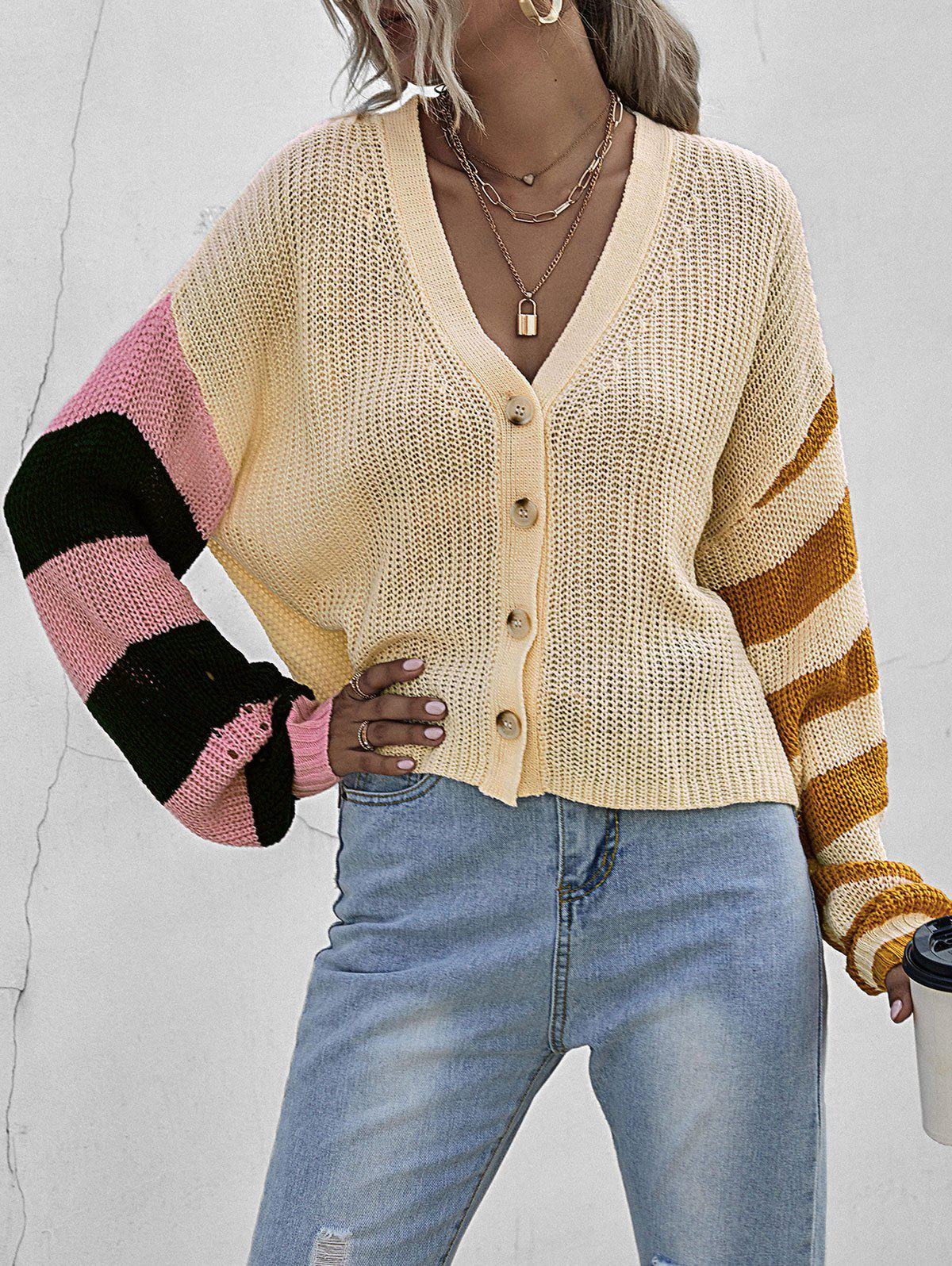 Outfits Colorblock Striped Drop Shoulder Cardigan