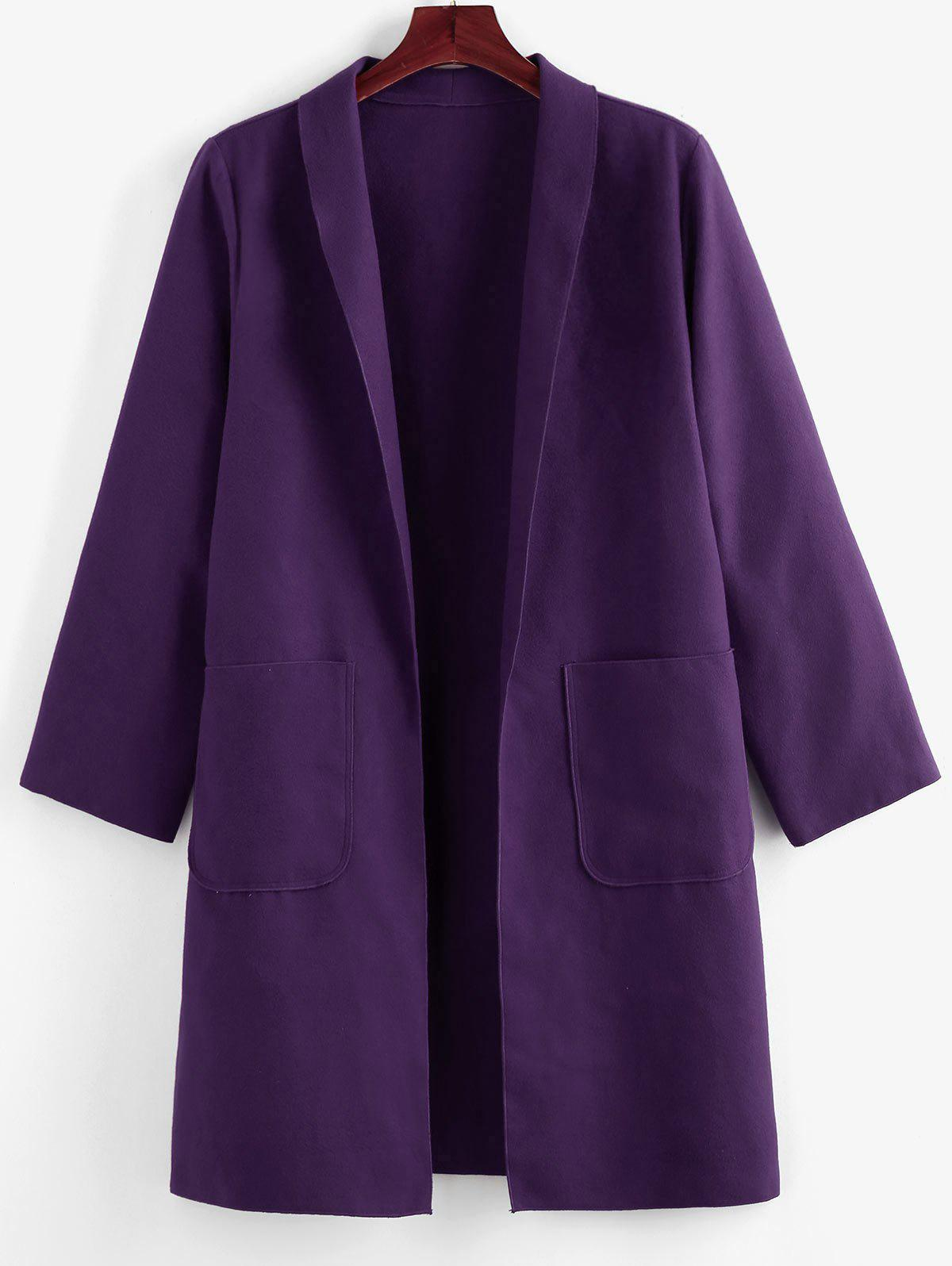 Outfit Plus Size Shawl Collar Patched Pocket Tunic Coat
