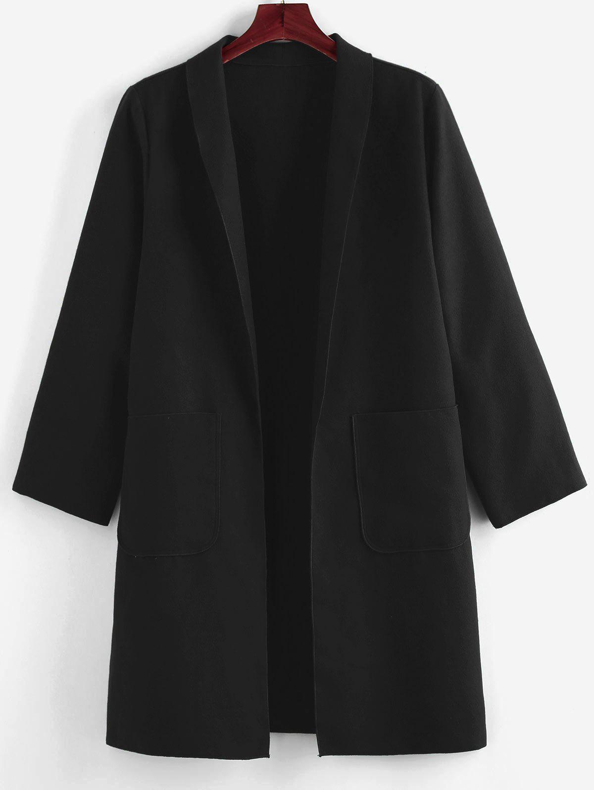 Chic Plus Size Shawl Collar Patched Pocket Tunic Coat