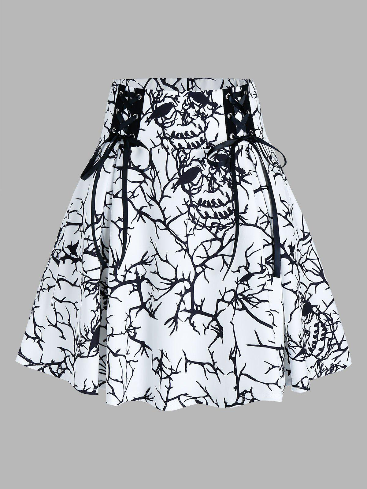 Fancy Tree Print Lace Up A Line Skirt