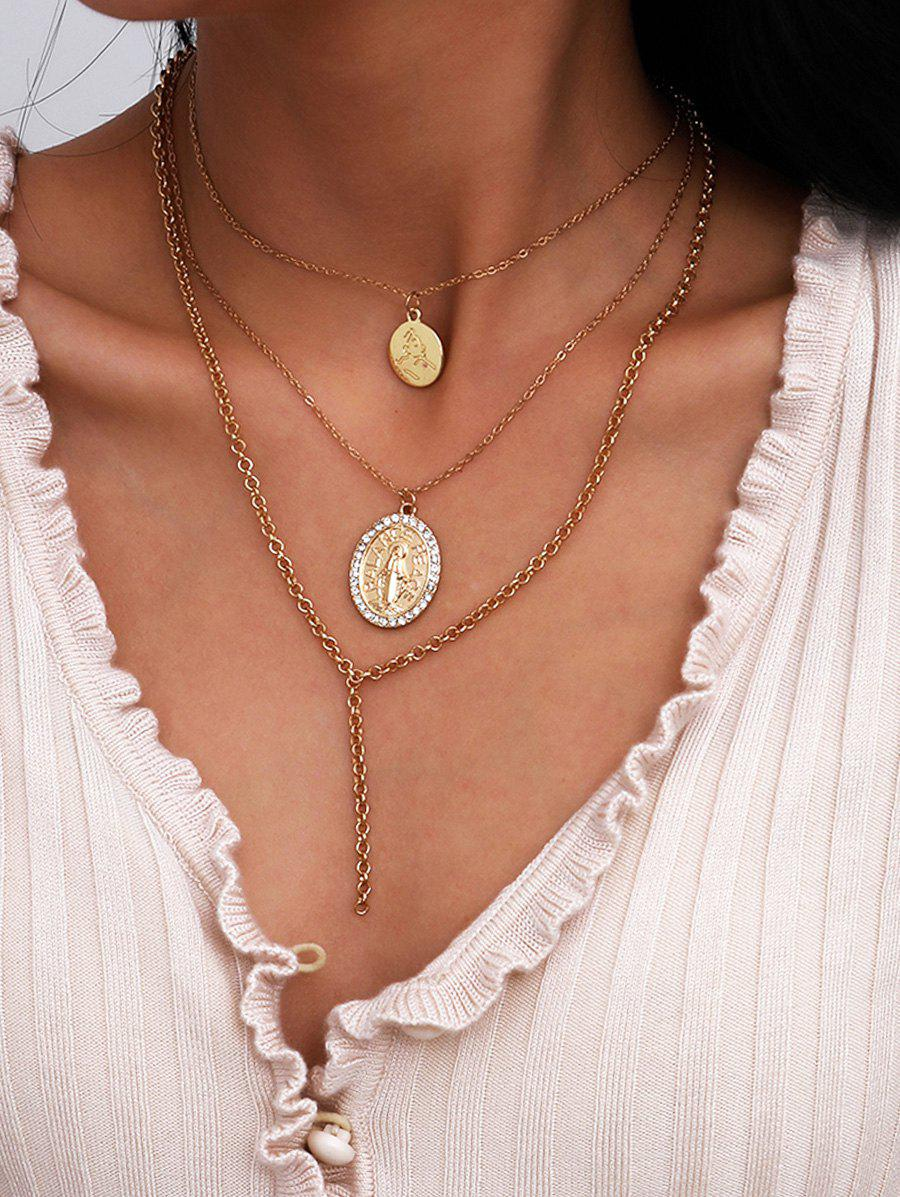 Outfit Engraved Rhinestone Round Pendant Layered Necklace
