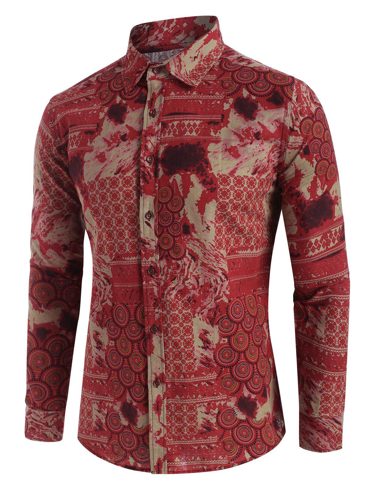 Affordable Seamless Round Pattern Long Sleeve Button Up Shirt