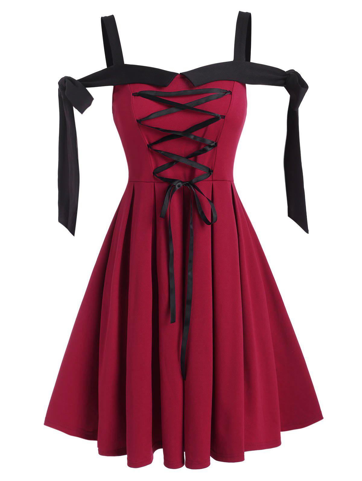Trendy Lace-up Front Tie Knot Pleated Dress