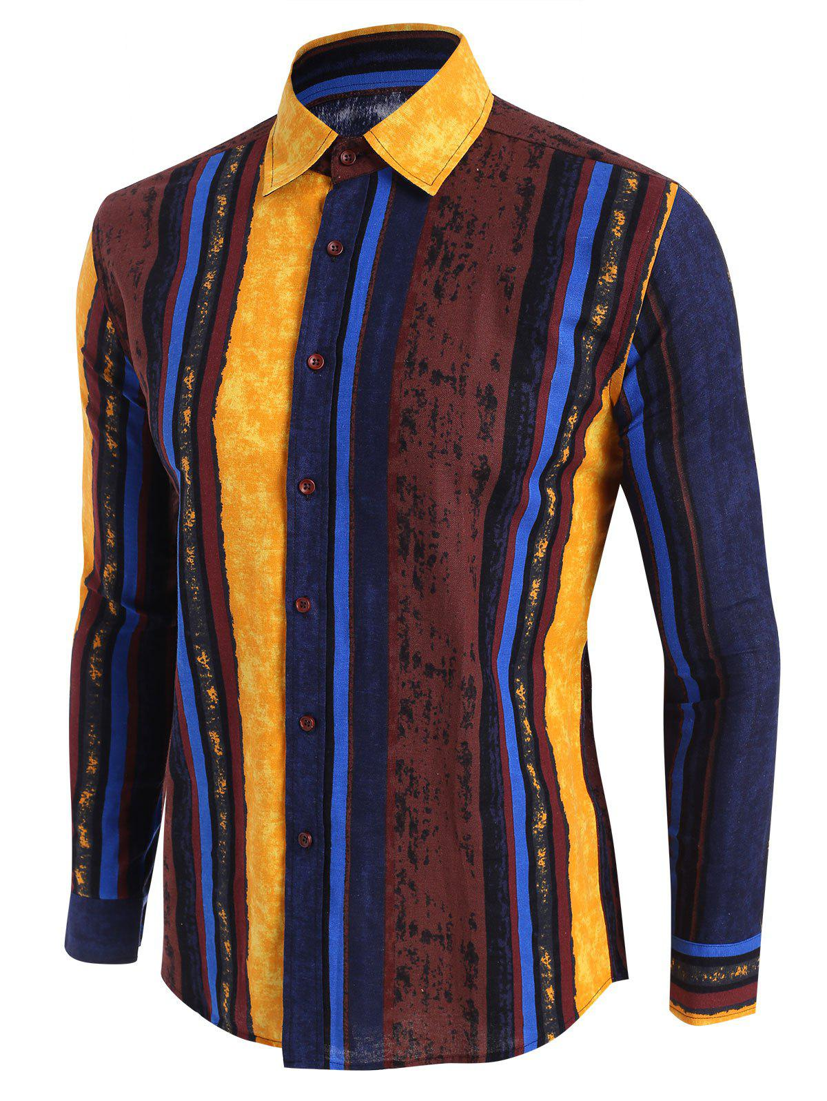 Buy Vertical Striped Ethnic Button Up Shirt