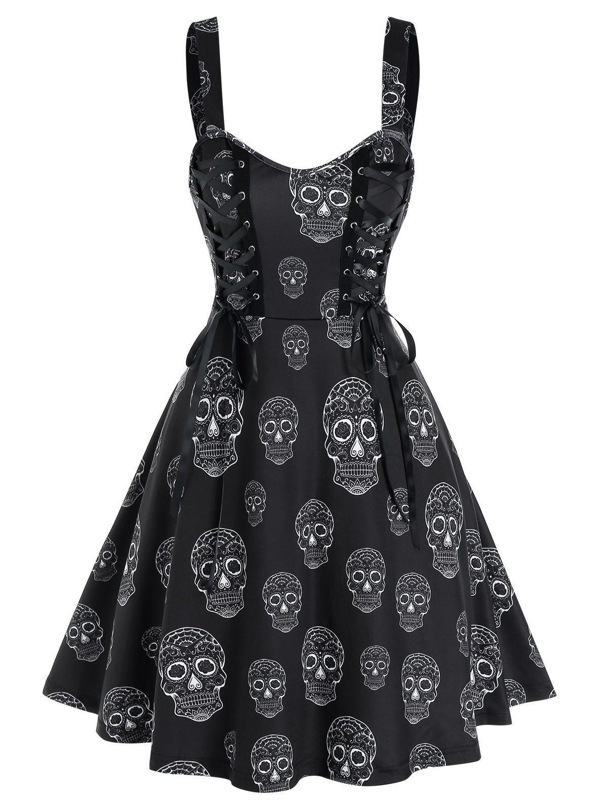 Online Gothic Skull Print Lace Up Mini Cami Dress