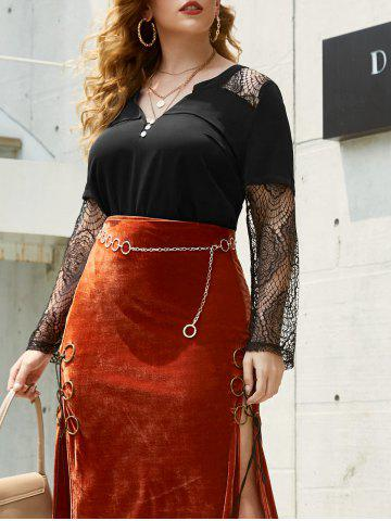 Plus Size Lace Insert Halloween Top